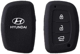 Bigwheels (Set Of 1 pc) Silicone Rubber Unbreakable And Durable Hyundai 3 Push Start Buttons (Black Color) Car Remote Flip Smart Key Cover/Key Guard/Key Shell Fit For Hyundai Grand i10