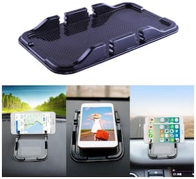 Bigwheels Silicone Rubber Adhesive Double Sided Anti-Slip/Slide/Skid Sticky Grip Pu Gel Mat/Pad Dual Slot Cell Phone Mount Mobile Holder For Car Dashboard Cradle Dock GPS, Coins, Keys & Accessories