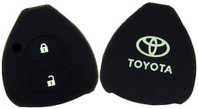 Bigwheels (Set Of 2 pc) Silicone Rubber Unbreakable And Durable Toyota 2 Push Start Buttons (Black Color) Car Remote Flip Smart Key Cover/Key Guard/Key Shell Fit For Toyota Corolla
