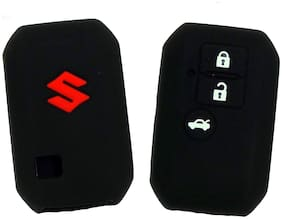 Bigwheels (Set Of 2 pc) Silicone Rubber Unbreakable And Durable Suzuki 3 Push Start Buttons (Black Color) Car Remote Flip Smart Key Cover/Key Guard/Key Shell Fit For Maruti Suzuki New Swift