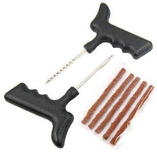 Bigwheels Universal Car & Bike 5 Rubber Strips Plugs Tubeless Flat Tyre Puncture Repair Kit Patch Tools For All Radial & Steel Belted Tires (T Shape Handle Grips + 5 Repair Strips Plugs)