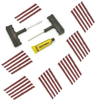 Bigwheels Universal Car & Bike 33 Rubber Strips Plugs Tubeless Flat Tyre Puncture Repair Kit Patch Tools For All Radial & Steel Belted Tires (T Shape Handle Grips +33 Repair Strips +Rubber Solution)