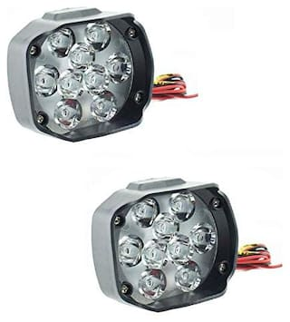 Bigzoom 9 LED 15W Fog Light with Flood and Spot Combo Beam with Mounting Brackets (Pack of 2) with Switch for TVS Victor GX 100
