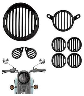 Bigzoom Combo of Indicator, Eyes, Tail and Head Light Grill for Royal Enfield Classic 350/500 (Metal Grill) Set of 8