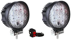 Bigzoom Flood Beam Auxiliary LED LA for Bikes (27W) (Set of 2 Pcs) with ON/Off Switch for Hero HF Deluxe Eco
