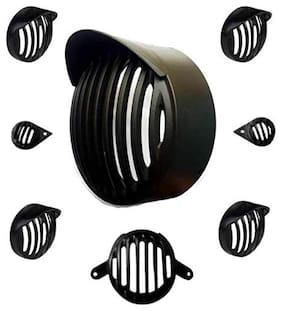 Bigzoom Plastic Grill for Royal Enfield Bullet Classic (Black, Set of 8)