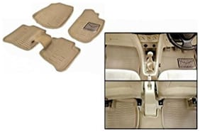 BIGZOOM Premium Quality MGT 100% Original 3D/4D Car Floor Mats For MARUTI Ignis (BEIGE)