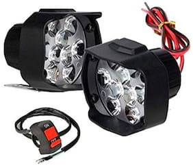 Bigzoom Shilon 9LED 16W Anti-Fog Spot Light Auxiliary Headlight with Switch (Pack of-2) for Bajaj Platina 125