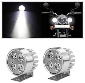 Bigzoom Stylish Round 4 led 16W Motorcycle Light Bike Fog Lamp Set of 2 Pices for Royal Enfield Bullet Electra Deluxe