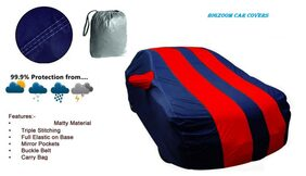 Bigzoom Triple stiches  Red & Blue Car Body cover for  Renault Kwid-With Storage Bag