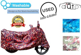 ABS AUTO TREND Jungle Print Bike Body Cover For  Hero Hf Deluxe ( Red )