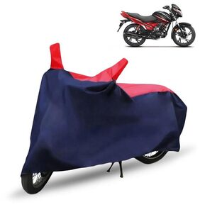 Bike Body Cover For Hero Glamour Body Cover With Storage Bag (Red & Blue)