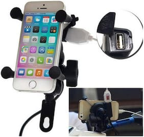 Bike MultiFunctional Mobile Holder with USB Charger Mototrcycle Mobile Holder Bracket Universal For All Bikes