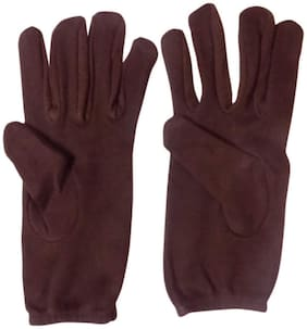 Bike Riding Protective Cotton Gloves Brown  for Men and Women Pack of 1