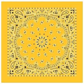 BISMAADH Unisex Cotton Paisley Printed Cowboy Bandanas (Yellow)...