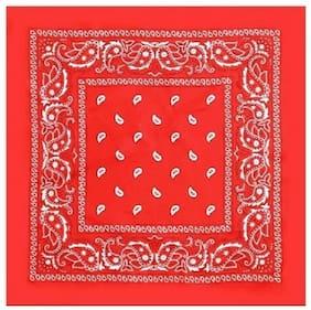 BISMAADH Unisex Cotton Paisley Printed Cowboy Bandanas (Red)