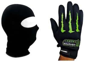 Black Balaclava Face Mask + Monster Bike Gloves