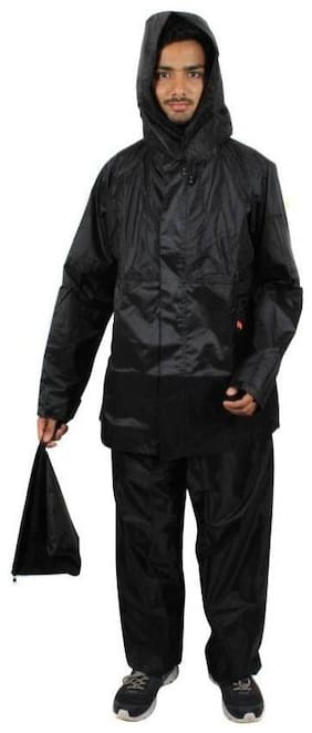 Black Color Polyester Raincoat (Size-XL)