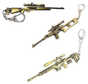 Bluegill PUBG Gun's Metal Keychain for Car/Bike/Locker Key Chain (Pack of 3)