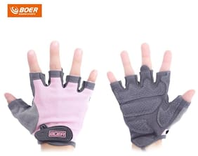 BOER Paired Body Building Fitness Weightlifting Half Finger Gloves for Women M(Pink) #SmileDay