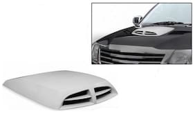 True Vision Universal Car Double Vent Air Intake Bonnet Scoop For All Cars - White Color