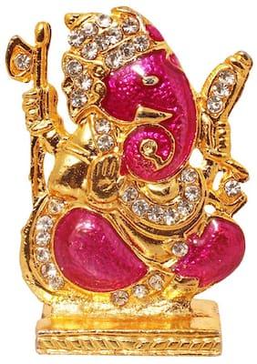 Brass 24 K Gold Plated With Stones Hindu God Shri Ganesh Car Dashboard Statue Lord Ganesha Idol Bhagwan Ganpati Handicraft Decorative Spiritual Puja Vastu Showpiece Figurine