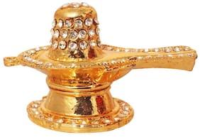 Brass 24 K Gold Plated With Stones Hindu God Shivling Car Dashboard Idol Lord Shivlinga Handicraft Statue , Bhole Baba / Mahadev Decorative Spritual Puja Vastu Showpiece Figurine