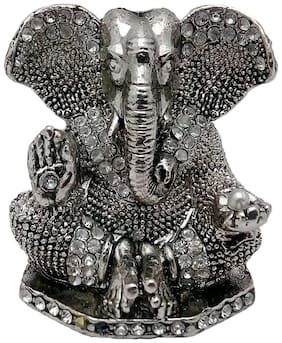 Brass Silver Plated With Stones Hindu God Shri Ganesh Car Dashboard Statue Lord Ganesha Idol Bhagwan Ganpati Handicraft Decorative Spiritual Puja Vastu Showpiece Figurine