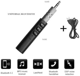 BT2 Clip-on Wireless AUX Bluetooth 4.1 Receiver for Car Headphone Speaker 3.5mm Bluetooth Audio Music adapter Jack with Mic By Sami