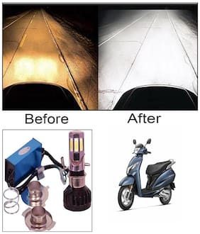 Capeshoppers M6 High Power Led Headlight Hid For Bikes For Honda Activa 125 Deluxe Scooty