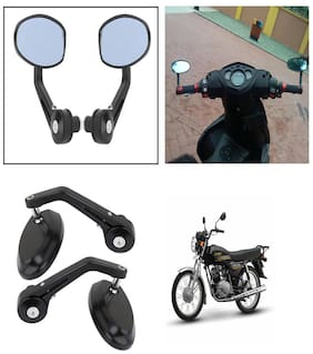 Capeshoppers Bike Handle Bar End Rotatable Rear View Mirror For Yamaha Crux