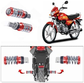 Capeshoppers Spring Coil Style Bike Foot Pegs Set Of 2 For Hero MotoCorp CD DELUXE O/M-Red