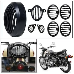 Capeshoppers Customized Head light grill Black twinspark 350For royal Enfield