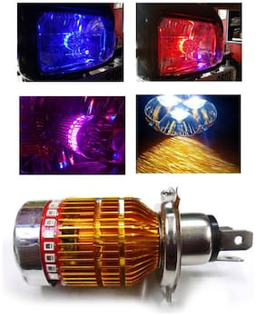 Capeshoppers 3 LED H4 Headlight With Multi Color Flashing Ring - White