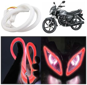 Capeshoppers Flexible 30Cm Audi / Neon Led Tube For Honda Shine Disc -Red