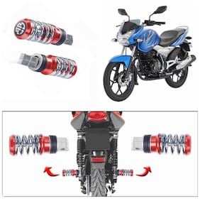 Capeshoppers Spring Coil Style Bike Foot Pegs Set Of 2 For Bajaj Discover 125 New-Red