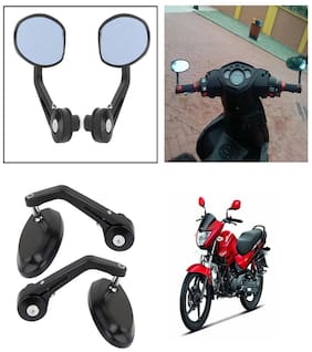 Capeshoppers Bike Handle Bar End Rotatable Rear View Mirror For Hero MotoCorp Glamour