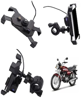 Capeshoppers stylish clip grip Mobile holder with usb For Hero MotoCorp HF Dawn