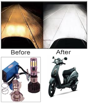 Capeshoppers M6 High Power Led Headlight Hid For Bikes For TVS Jupiter Scooty