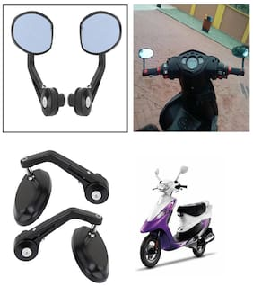 Capeshoppers Bike Handle Bar End Rotatable Rear View Mirror For TVS Streak Scooty