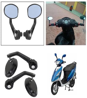 Capeshoppers Bike Handle Bar End Rotatable Rear View Mirror For TVS TREENZ Scooty