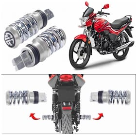Capeshoppers Spring Coil Style Bike Foot Pegs Set Of 2 For Hero MotoCorp Passion XPRO Disc-Chrome