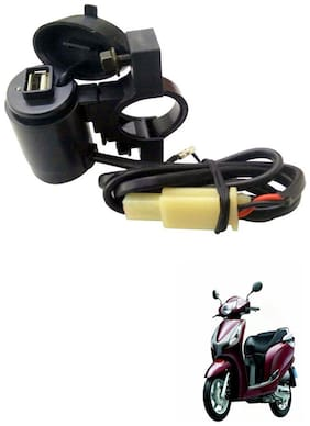 Capeshoppers Waterproof Bike USB Mobile Charger For Honda Aviator Standard Scooty