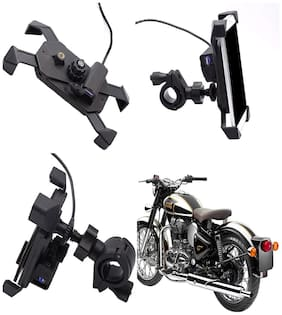 Capeshoppers stylish clip grip Mobile holder with usb For Royal Enfield BULLET 350