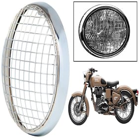Capeshoppers Mesh Headlight Grill Cover Chrome For Royal Enfield Classic Desert Storm