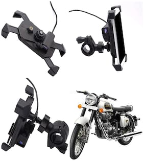 Capeshoppers stylish clip grip Mobile holder with usb For Royal Enfield Classic 500