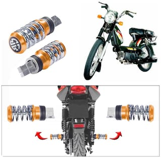 Capeshoppers Spring Coil Style Bike Foot Pegs Set Of 2 For TVS SUPER XL S/S-Golden