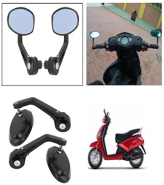 Capeshoppers Bike Handle Bar End Rotatable Rear View Mirror For Mahindra Gusto Scooty