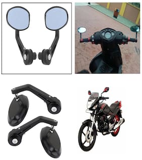 Capeshoppers Bike Handle Bar End Rotatable Rear View Mirror For Hero MotoCorp CBZ