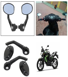 Capeshoppers Bike Handle Bar End Rotatable Rear View Mirror For Yamaha FZS